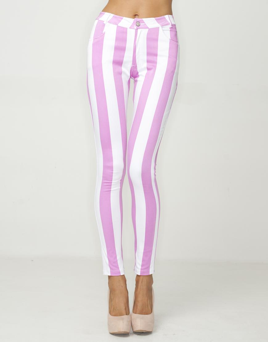 Motel Jordan Skinny Jean in Candy Pink Stripe at Motel Rocks