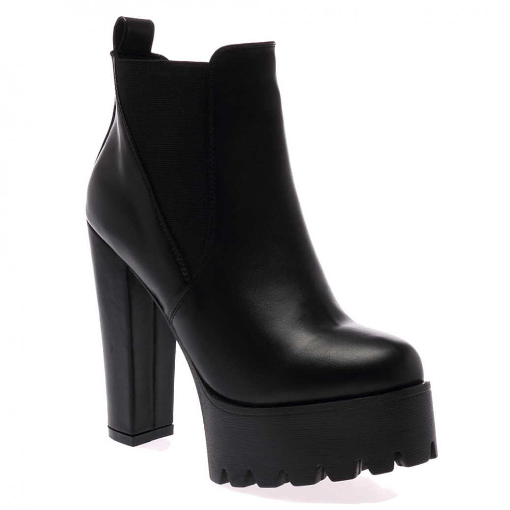 Hallie Black Pu High Heel Chelsea Boots