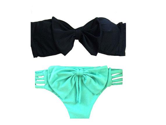 Brazilian bow bikini set by aztecaswimwear on etsy