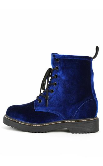 shoes combat boots velvet boots blue velvet
