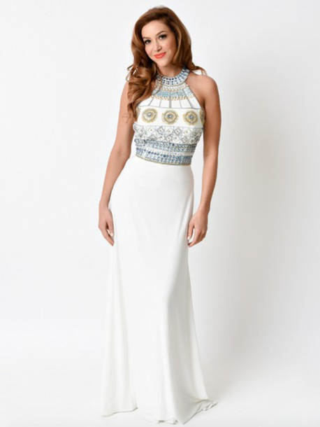 White Grecian Style Prom Dresses - Purple Graduation Dresses