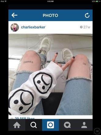 sweater white sweater grunge romper tumblr sweater charliexbarker