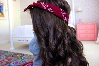 hair accessory bandana tshirt red hair band brunette