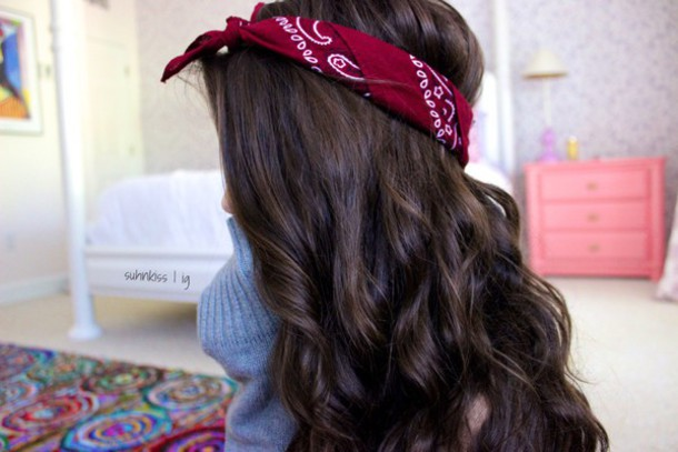 hair accessory bandana tshirt red hair band brunette 9a935539322
