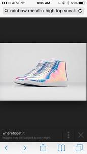 shoes,rainbow metallic high top  sneaker