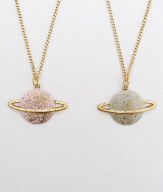 jewels science pastel pink gold grey necklace holiday gift cute saturn earth world jewelry shiny nerd universe galaxy print stars glitter pastel pink blue painting girl indie sparkle venus atmosphere space moon necklace matching set bff planets