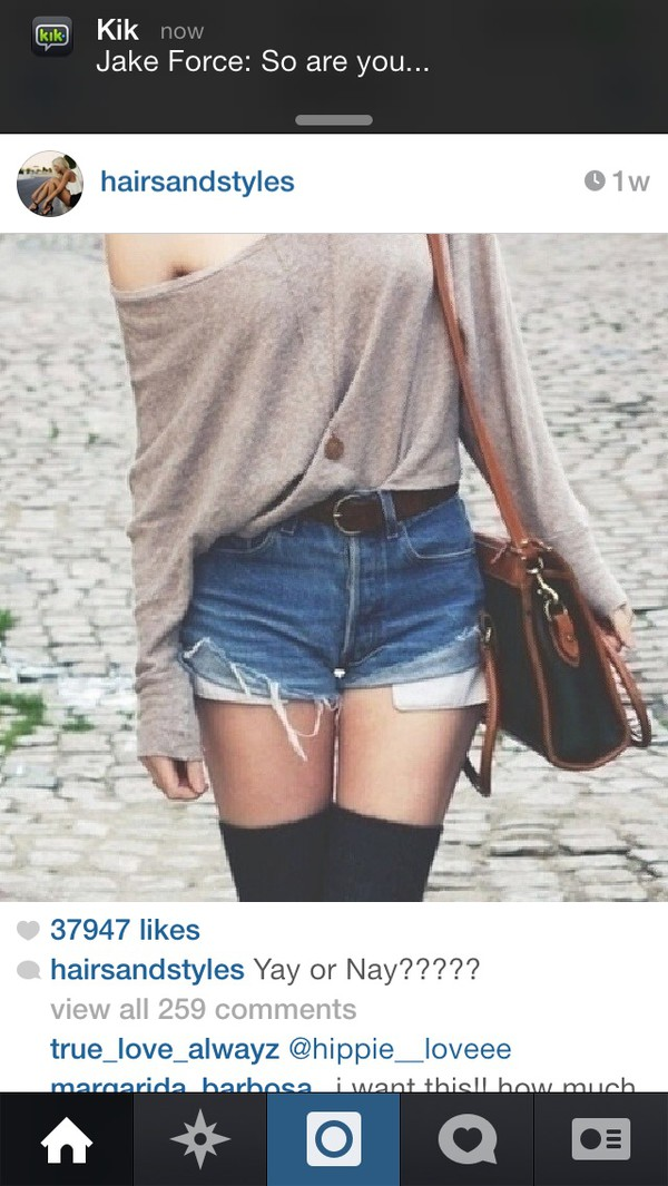 bag jeans blouse long sleeves High waisted shorts long necklace knee high socks purse
