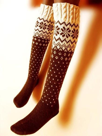 knitwear socks winter socks knee high socks coffee