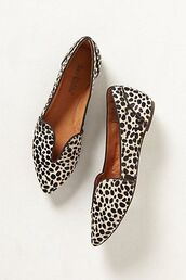 shoes,pointed toe,loafers,cute shoes,smoking slippers,animal print,anthropologie