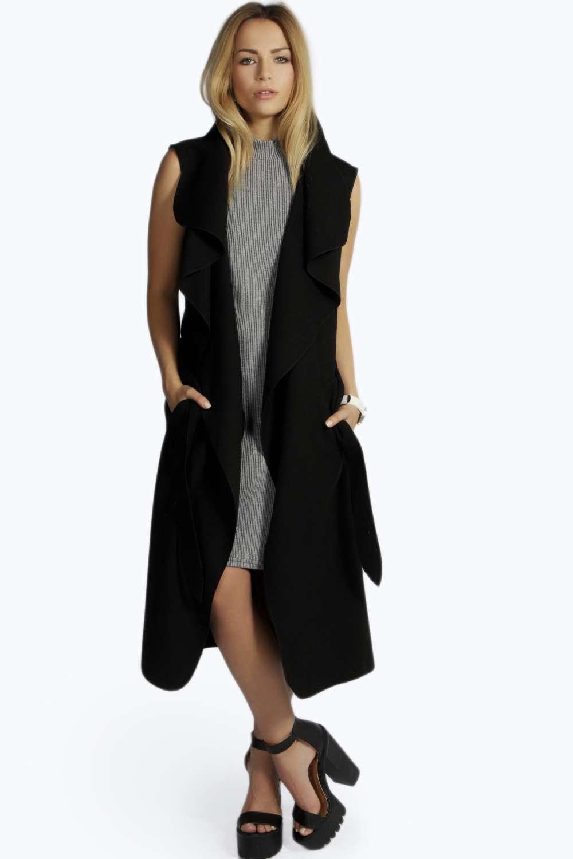 Waterfall Belted Sleeveless Coat