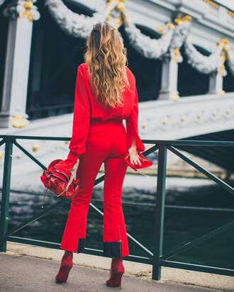 pants red pants red bag tumblr cropped pants shoes red heels shirt red shirt all red wishlist bag monochrome outfit