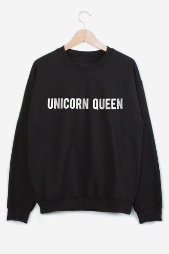 sweater unicorn black queen