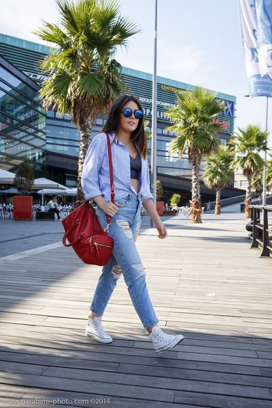 bag striped shirt blogger ripped jeans si las calles hablasen mirrored sunglasses bralette
