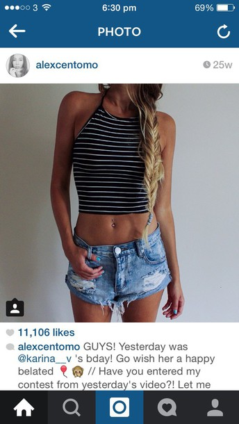 top stripy crop tops cami halter neck high neck high neck crop top cute top love tumblr outfit shorts ripped shorts