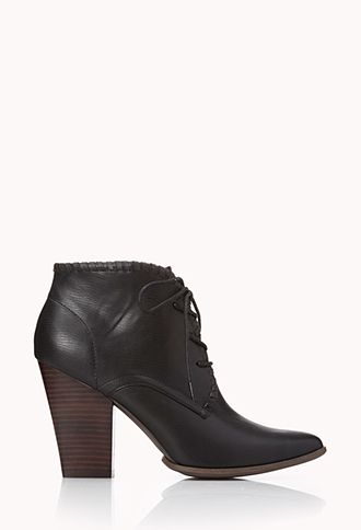 Refined Lace-Up Booties | FOREVER21 - 2000108118