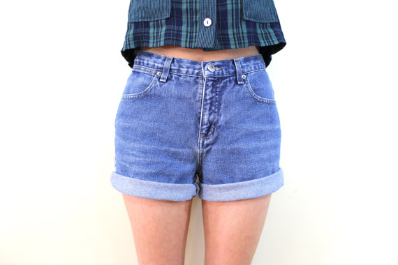 90s high waisted denim shorts size s by mermaidislandvintage