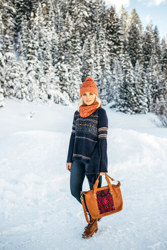 wild one forever - fashion & style by kristin blogger sweater jeans shoes bag hat winter outfits beanie bell sleeve sweater orange bag brown boots