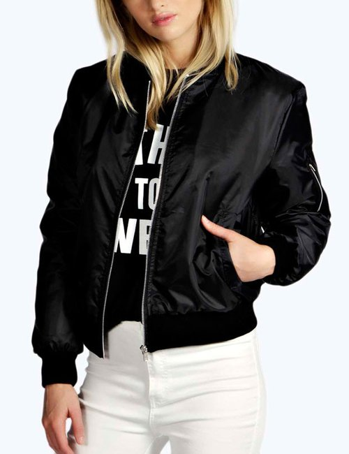 Women's Thin Long Sleeve Coat Casual Stand Collar Slim Fit Bomber Jacket