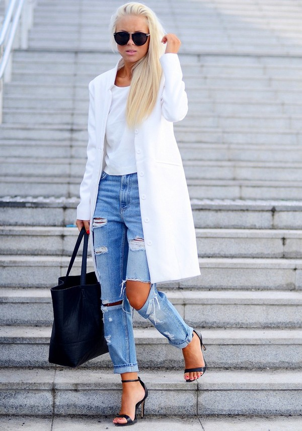 victoria tornegren shoes jeans coat t-shirt bag sunglasses heels purse ripped jeans ripped jeans casual