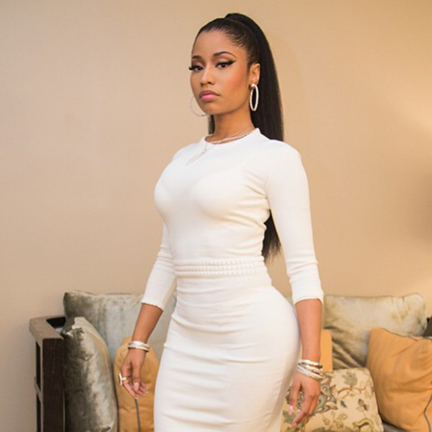 dress black girls killin it bodycon dress white dress nicki minaj barbz baddies beautiful women celebrities in white
