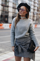 skirt,tumblr,mini skirt,asymmetrical,asymmetrical skirt,plaid,plaid skirt,sweater,grey sweater,knit,knitwear,knitted sweater,beret,sunglasses,cat eye,hat