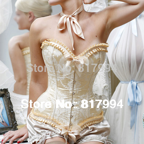 S328 free shipping new sexy womens ivory victorian satin boned vintage bowknot overbust corset bustier corset tops