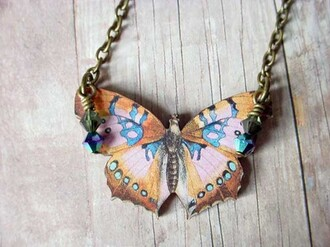 jewels butterfly necklace retro vintage insect amazing cool