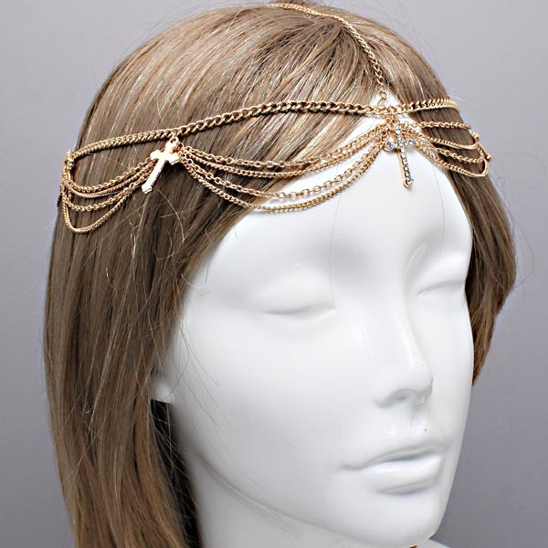 Bohemian Gold Clear Crystal Head Chain Harlow Headpiece Wedding Headchain | eBay