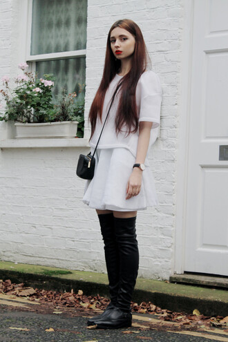white top blogger jewels ams la la land white skirt oversized thigh high boots