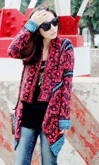 jacket cape coat clothes fuschia cardigan tribal pattern national flag jewels