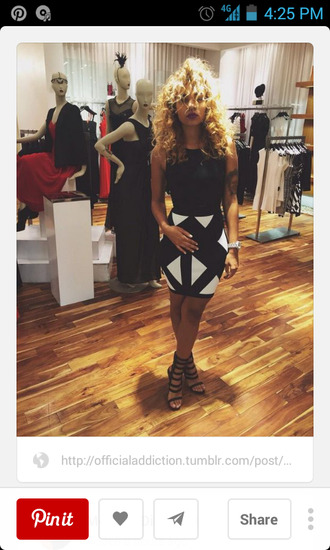 dress african american curly hair skirt bodycon dress black and white black and white dress heels strappy sandals watch striped skirt store couture dress