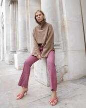 pants,wool,cropped pants,checkered pants,wide-leg pants,mules,sweater,knitted sweater,turtleneck sweater,oversized sweater,earrings
