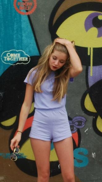 romper shorts shirt lavender purple retro cute