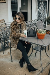 life & messy hair,blogger,coat,pants,shoes,jewels,faux fur coat,animal print coat,animal print,handbag,ankle boots