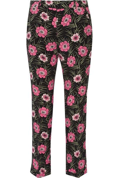 MARNI pants floral print black pink
