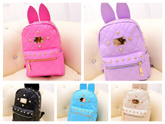 bag beige backpack colorful bunny bag bunny bagpack girly bagpack purple