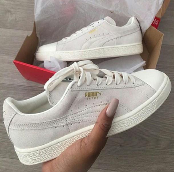 355ee7f0910 shoes puma suede grey white beige puma suède grey sneakers puma sneakers  low top sneakers suede