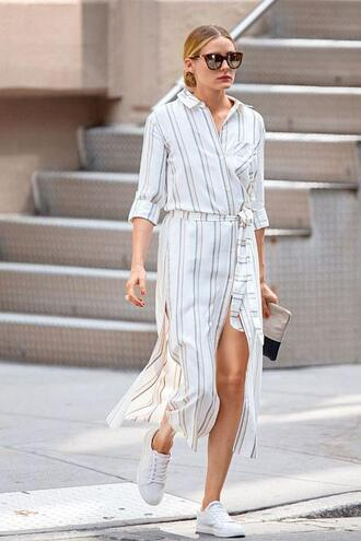 dress wrap dress olivia palermo blogger sneakers sunglasses streetstyle shirt dress shoes