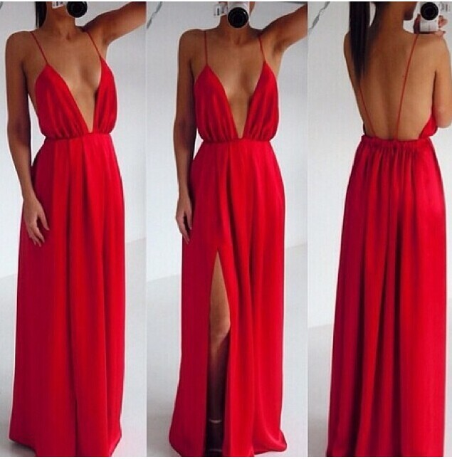 Sexy Clothing Wedding Elegant Red Spaghetti Strap Pleated Backless Maxi Dress 2014 new summer Party dress 4color-in Apparel & Accessories on Aliexpress.com
