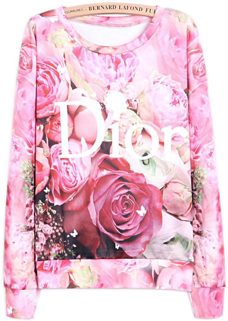 sweatshirt mit rose druck rot sheinside. Black Bedroom Furniture Sets. Home Design Ideas