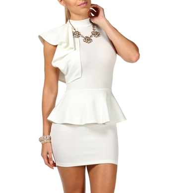 Ivory Mock Neck Peplum Party Dress