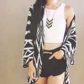 sweater,black,white,b&w,tribal pattern,long,tribal sweater,tribal print sweater,shirt,jacket,monochrome,cardigan,fashion,black and white,coat,clothes,aztec,tribal cardigan,aztec jacket,oversized cardigan,white tank top,tank top,top,belt,gold belt,golden belt,shorts,high waisted black shorts,High waisted shorts,black shorts,jewels,jewelry,gold jewelry,black jewels,black jewelry,black necklace,design,loose,aztek,blouse
