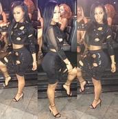 lira galore,two-piece,see through,super cute,black,black dress,party dress,dress,black cutout skirt set