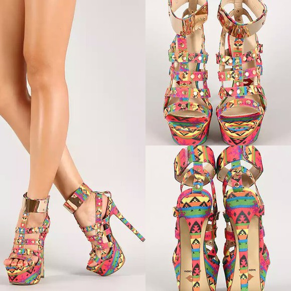 aztec colorful shoes bright colored platform high heels
