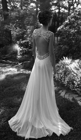 dress long dress backless chiffon white dress long prom dress white prom dress prom wedding dress prom dress gown loveit backless prom dress dimonte vintage dress
