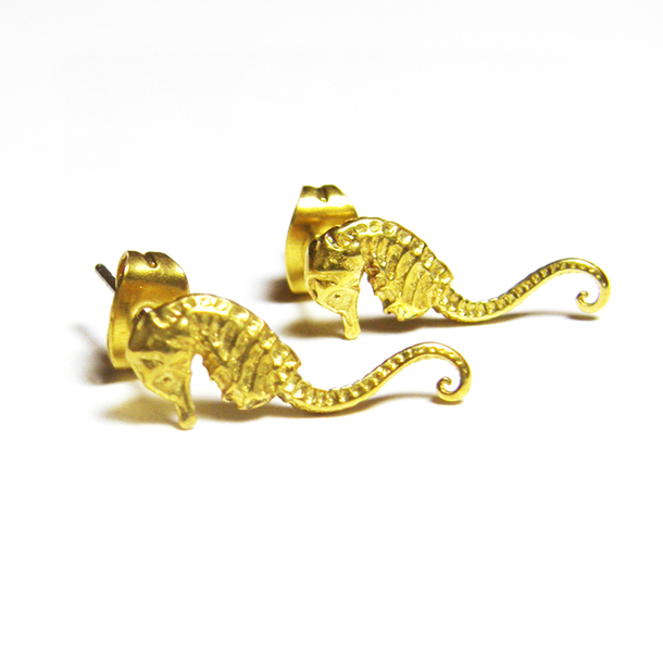 Seahorse Stud Earrings by VERAMEAT | Fab.com