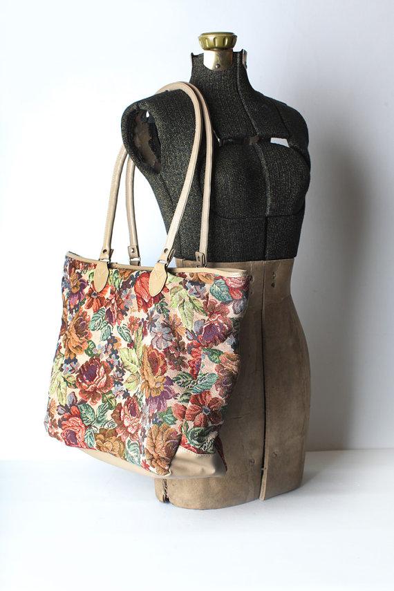 Vintage tapestry shoulder bag floral bag by thisvintagething