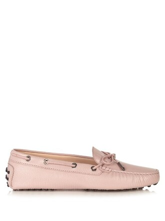 loafers leather light pink light pink shoes