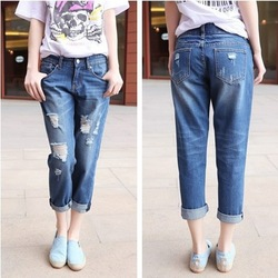Shop New Fashion Korean hole nine jeans Straight large size pants ...