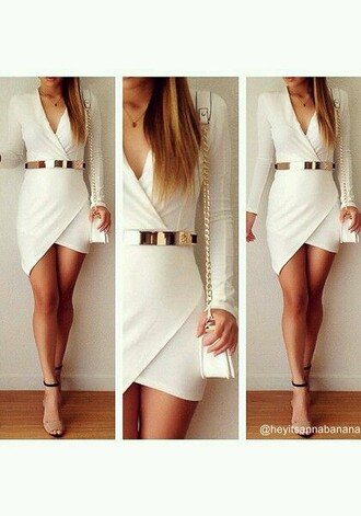 dress ivory dress gold metal belt
